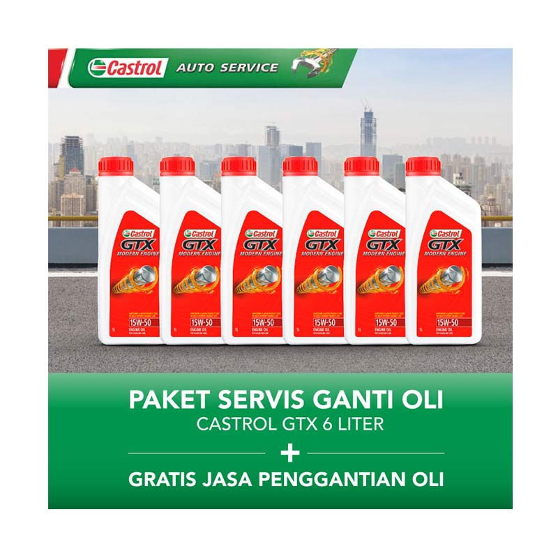 Castrol GTX Paket Servis Ganti Oli [6 Liter/Gratis Jasa Penggantian Oli]