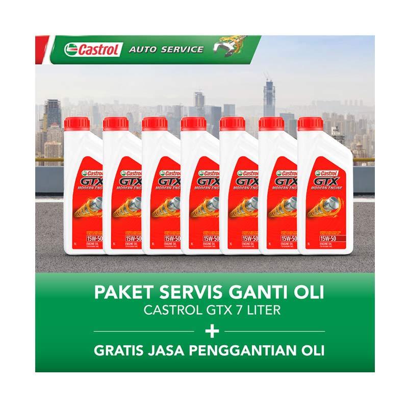 Castrol GTX Paket Servis Ganti Oli [7 Liter/Gratis Jasa Penggantian Oli]