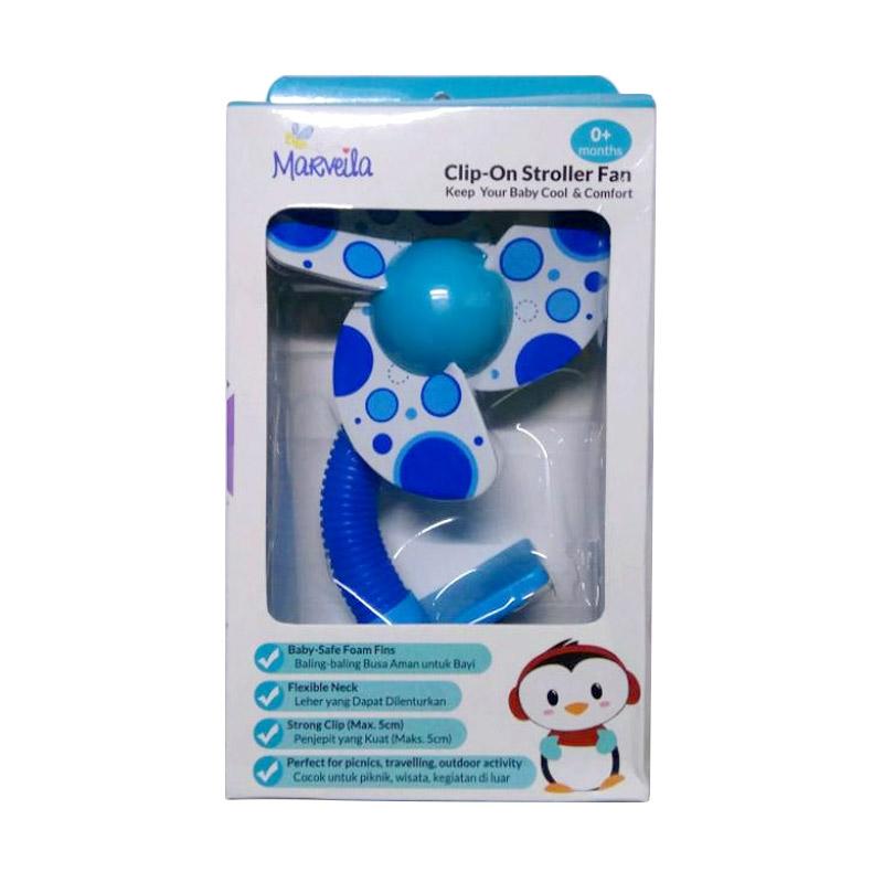 Spek Harga Marveila Baby Talk Mini Stroller Fan for Strollers Baby - Blue Kipas Stroller Bayi