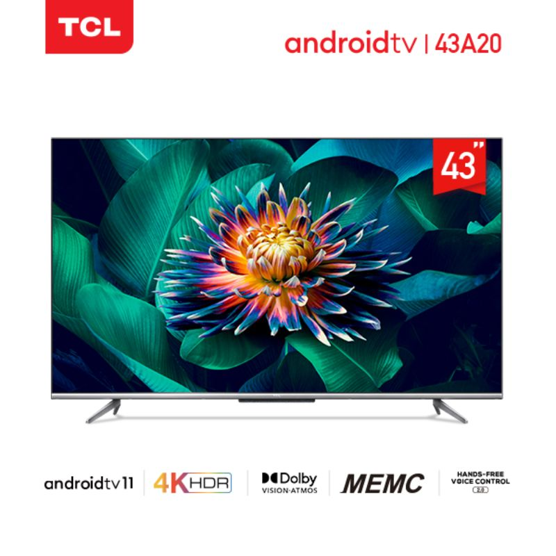 TCL 43-inch Android 11 TV 4KUHD HDR 10-Dolby -MEMC-Hands-Free Voice Control- HDMI 2.1 (Model 43A20)