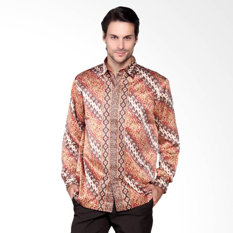 Batik Heritage Exclusive Linen Lereng Kemeja Panjang Pria - Orange