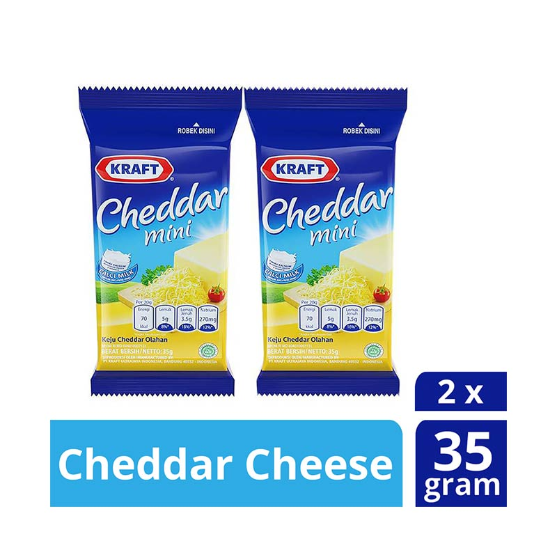 Kraft Processed Cheddar Cheese with Vitamin D [35 g/2 pack]
