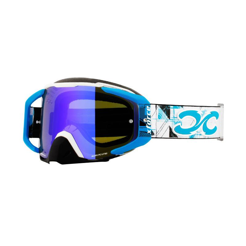Xforce® Assassin XL Moto Cross Kacamata Goggle - White Blue