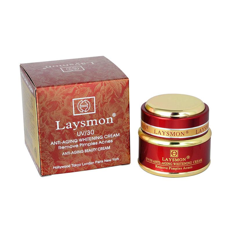 Laysmon UV/30 Anti-Aging Whitening Cream Remove Pimples Acnes Pelembab Wajah [20g]