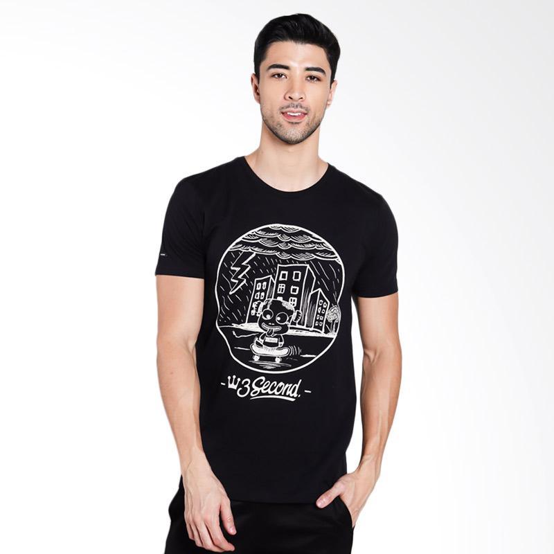 3SECOND Men 1812 T-Shirt Pria - Black