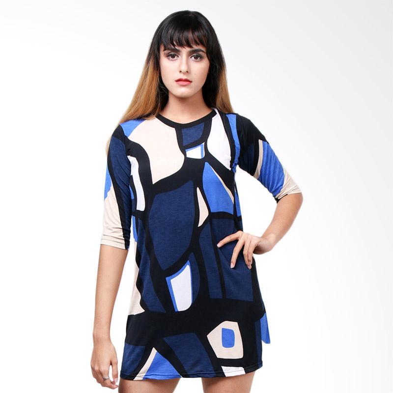 Boontie Nova Motif Dress - Biru