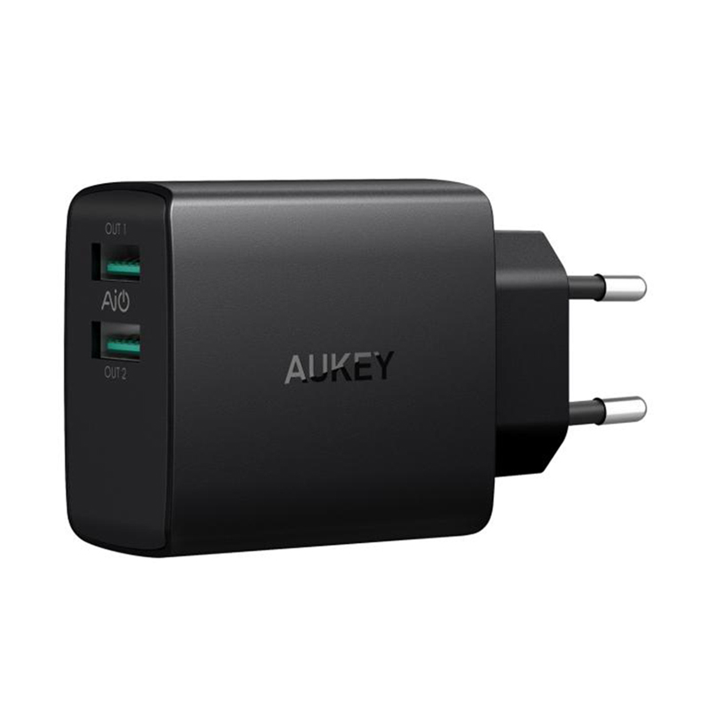AUKEY PA-U42 Aipower Wall Charger - Black [2.4 A/2 Ports]