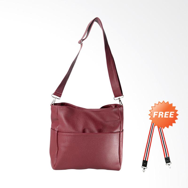 DOUBLE DISCOUNT Hanan Project Unie Hermes Sling Bags Wanita - Maroon (FREE STRAP BAGS)