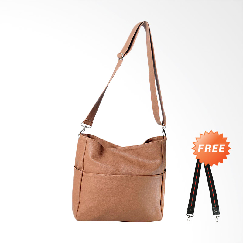 DOUBLE DISCOUNT Hanan Project Unie Sling Bags Wanita - Caramel (FREE STRAP BAGS)