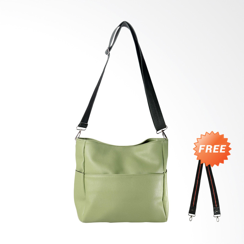 DOUBLE DISCOUNT Hanan Project Unie Apple Sling Bags Wanita - Soft Green (FREE STRAP BAGS)