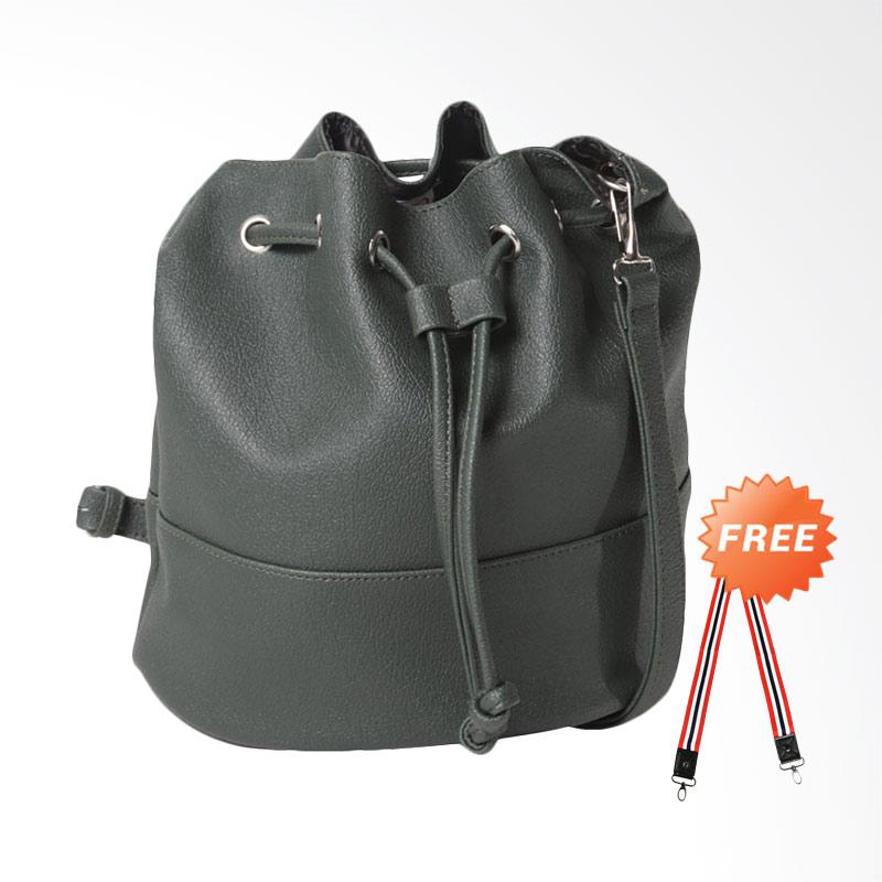 DOUBLE DISCOUNT Hanan Project Bucket Bottle sling Bags Wanita - Dark Green (FREE STRAP BAGS)