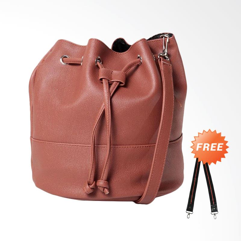 DOUBLE DISCOUNT Hanan Project Bucket Brick Shoulder Bags Wanita - Dark Brown (FREE STRAP BAGS)