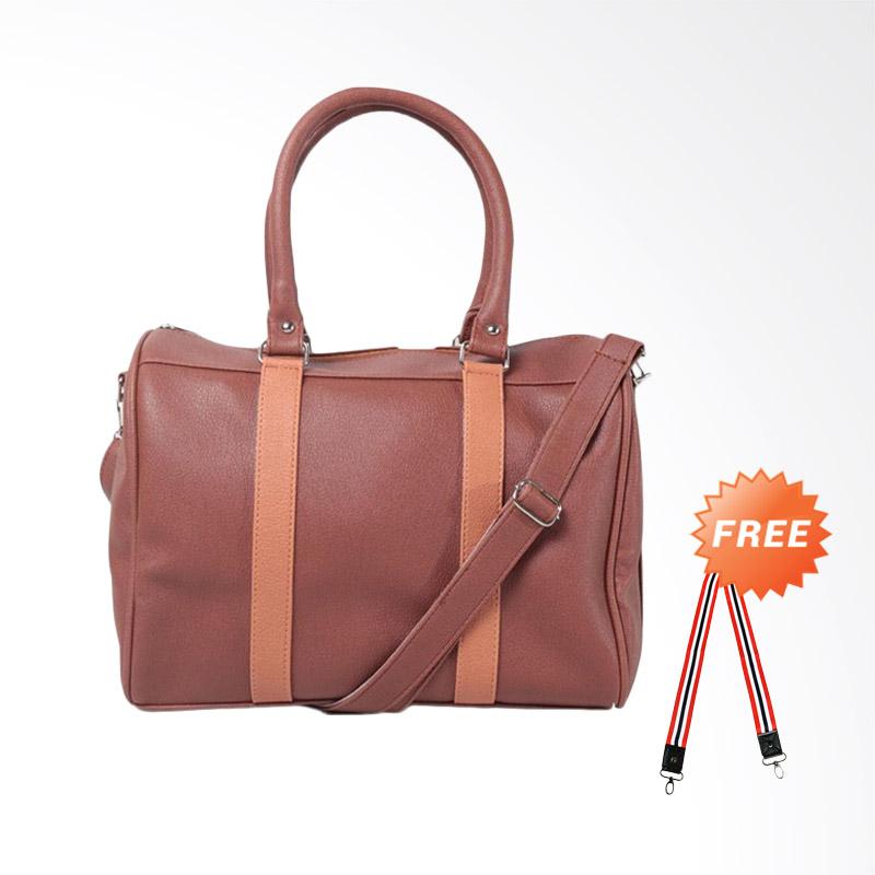 DOUBLE DISCOUNT Hanan Project Satchel Brick Apricot Hand Bag Tas Wanita - Brown (FREE STRAP BAGS)