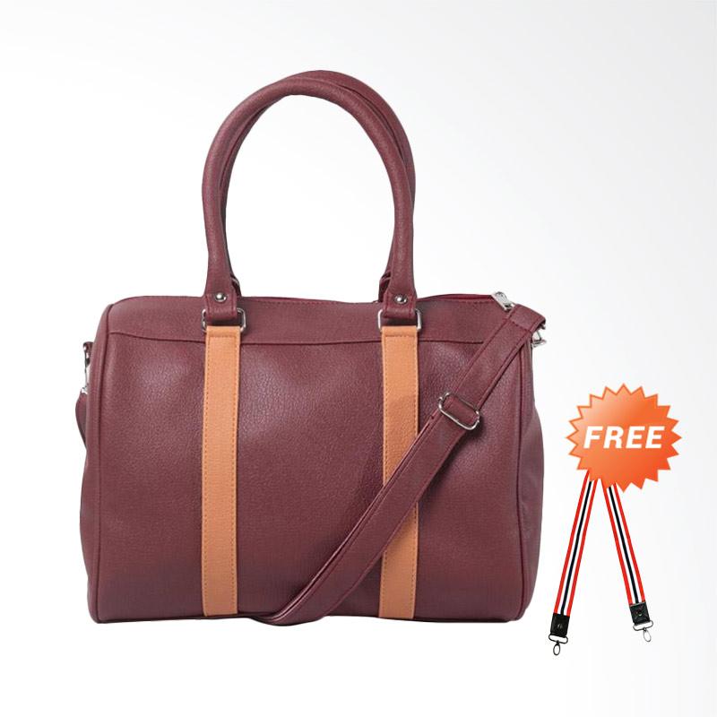 DOUBLE DISCOUNT Hanan Project Satchel Hermes Nugget Hand Bag Tas Wanita - Maroon (FREE STRAP BAGS)