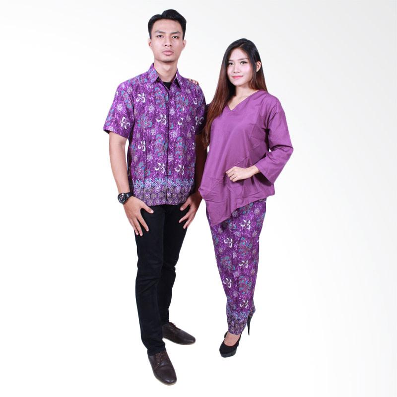 Batik Putri Ayu Solo SRD504 Batik Sarimbit Dress Baju Batik Couple - Ungu
