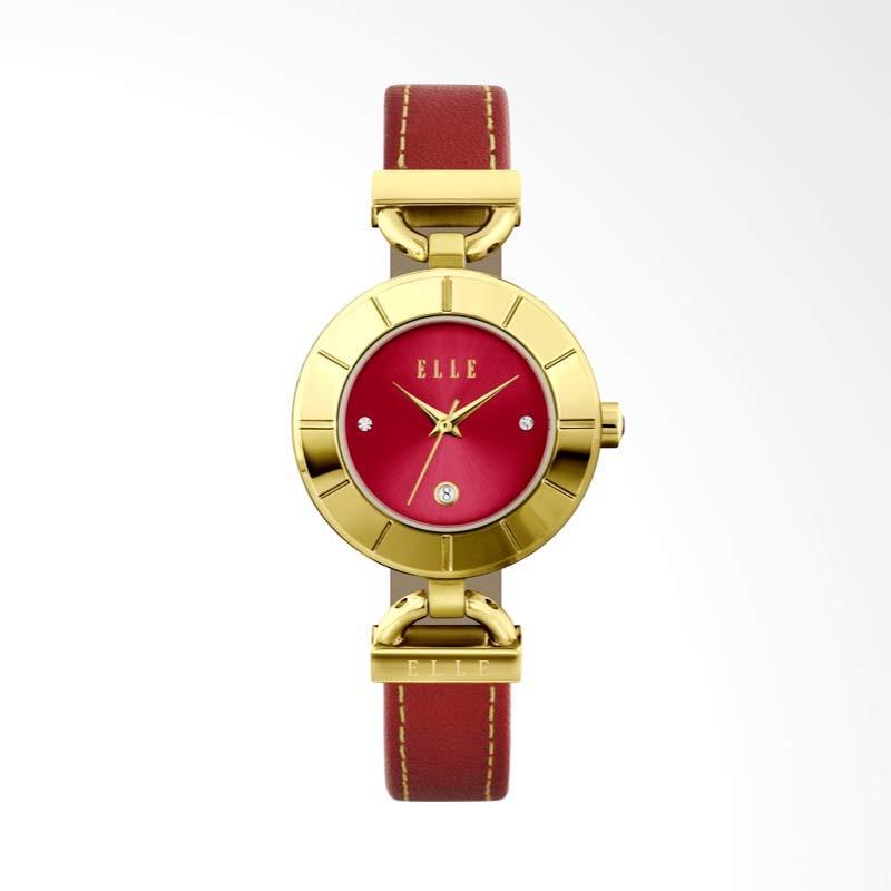 Produk Elle EL20421S04N Stainless Steel Leather Strap Jam Tangan Wanita - Gold Red Terbaru