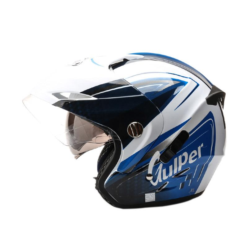 harga Gulper Series Helm Half Face - Engine White Blue - CB Blibli.com