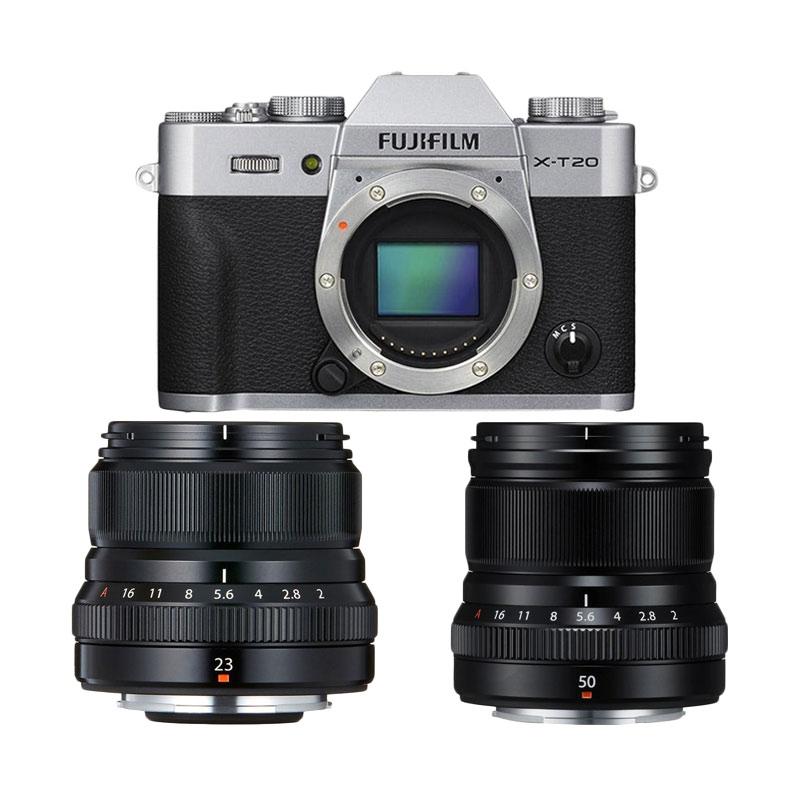 harga Fujifilm X-T20 Body Silver + XF23 f2 Black + XF 50 f2 Black FREE Printer SP2, Battery NP-W126S*, Sirui Sling Bag*, Paper Film Instax Mini Twin Pack* Blibli.com