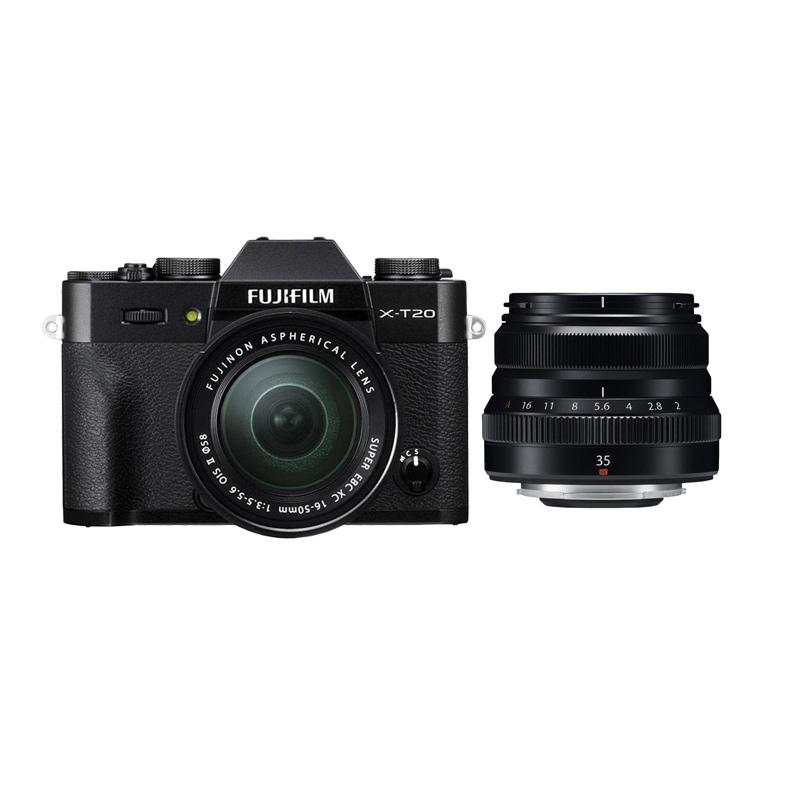 harga Fujifilm X-T20 16-50mm Kamera Mirrorless - Black + XF 35mm f2 Black + Fuji Instax Share SP2 Blibli.com