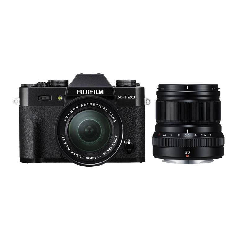 harga Fujifilm X-T20 16-50mm Kamera Mirrorless - Black + XF 50mm f2 Black + Fuji instax share SP2 Blibli.com