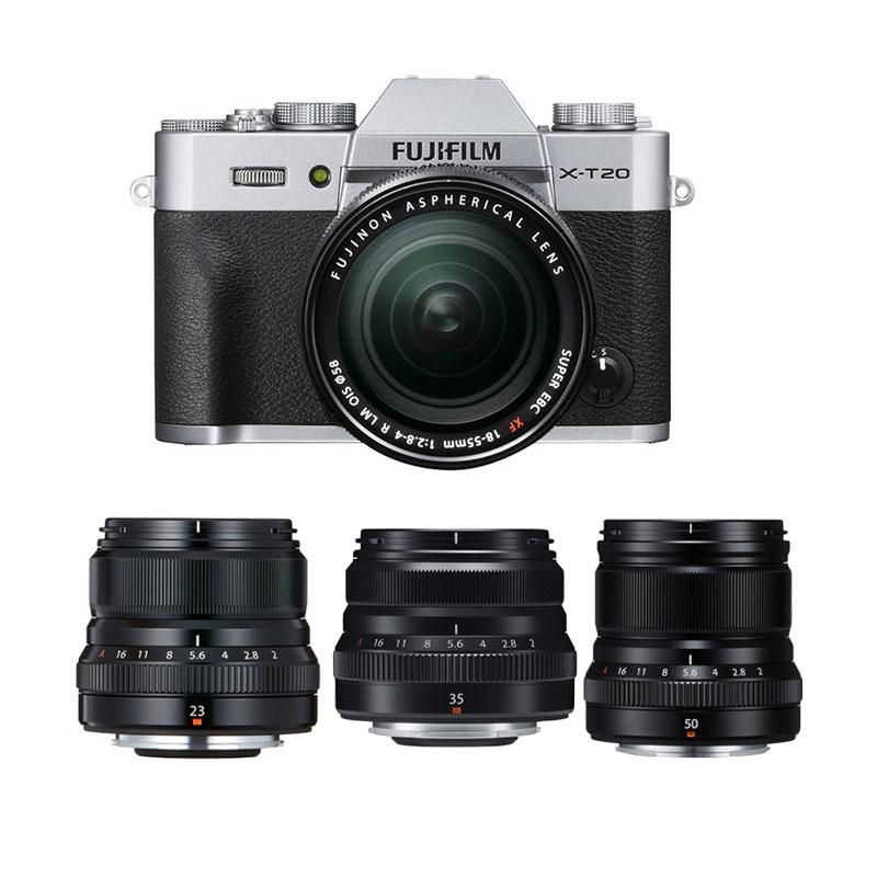 harga Fujifilm X-T20 18-55mm Kamera Mirrorless - Silver + XF 50mm f2 Black + XF 23mm f2 Black + XF 35mm f2 Black +Fuji Instax Share SP2 Blibli.com