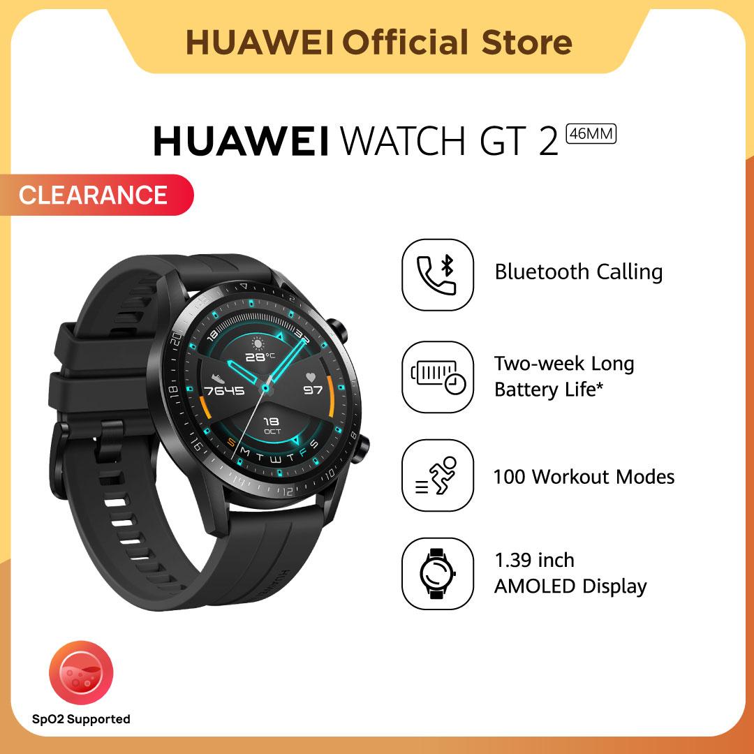 HUAWEI WATCH GT 2 46MM SmartWatch Pria | SpO2 Monitoring | 2-week Battery Life | Bluetooth Calling | Professional Workout mode