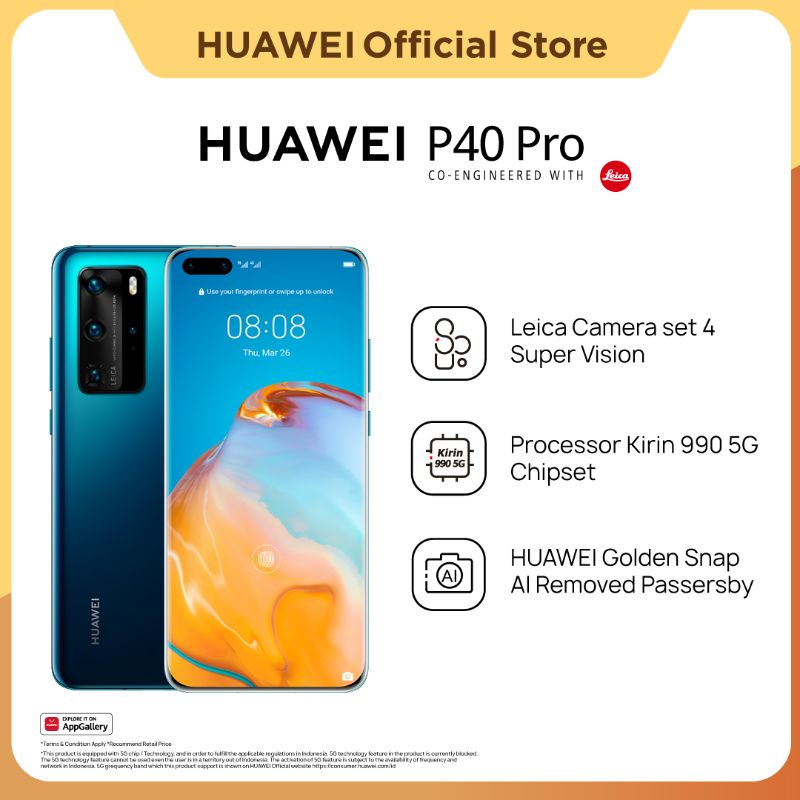 harga Huawei P40 Pro 5G Smartphone [8+256GB] | Kirin 990 | 50MP Leica Ultra Vision Camera | 40W Wired SuperCharge | Hp Blibli.com