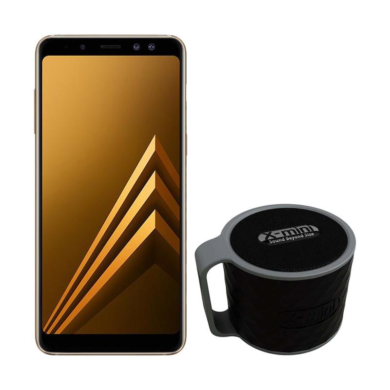 Samsung Galaxy A8 Smartphone - Gold [32GB/ 4GB/ 2018 Edition] + Free Xmini Speaker
