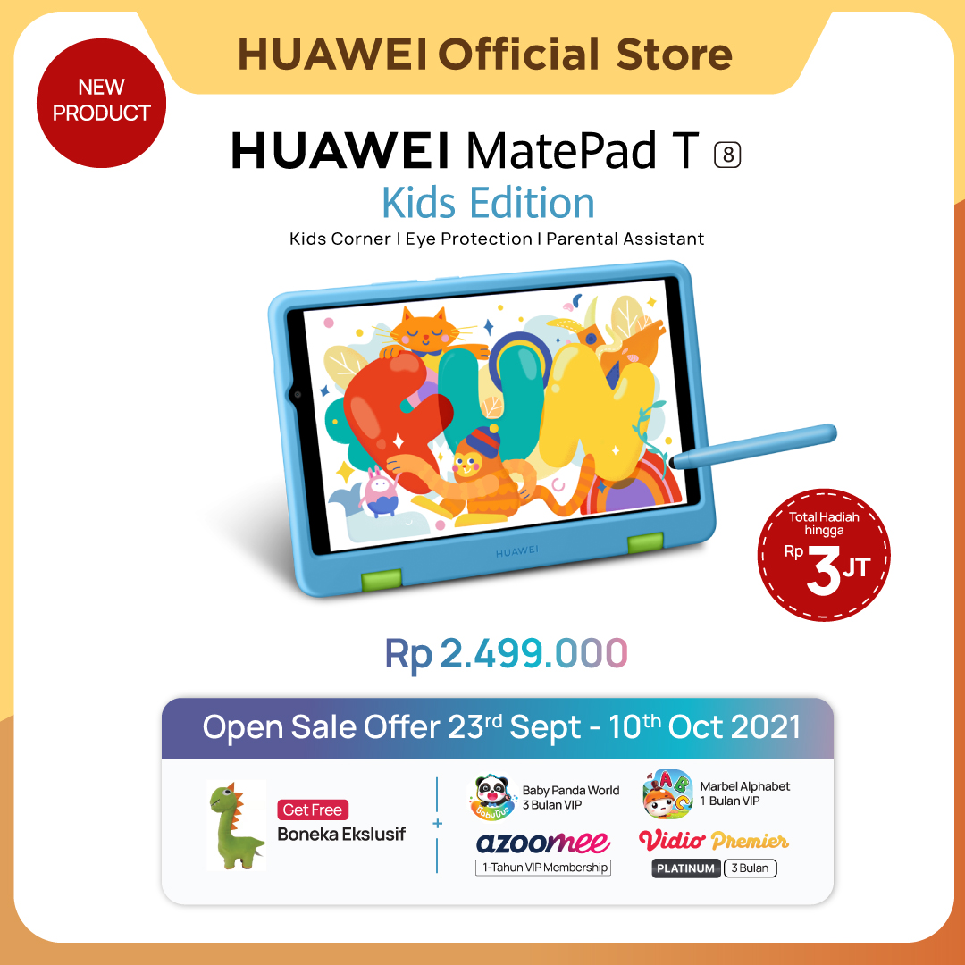 [New] HUAWEI MatePad T8 Kids Edition Tablet | Kids Corner | Eye Protection | Parental Assistant