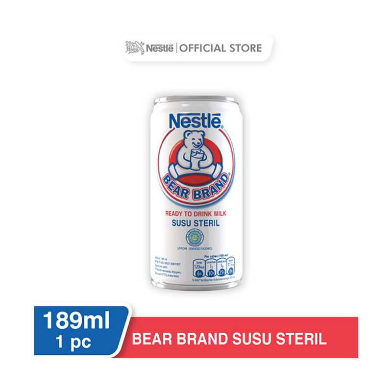 NESTLE BEAR BRAND Susu Sapi Steril Siap Minum Putih Kaleng 189ml