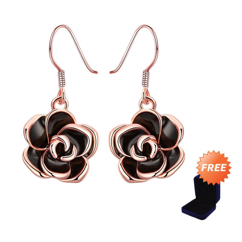 Bella Co AKE008 Romantic Plant Ear Hook Earrings Rose Gold Coated