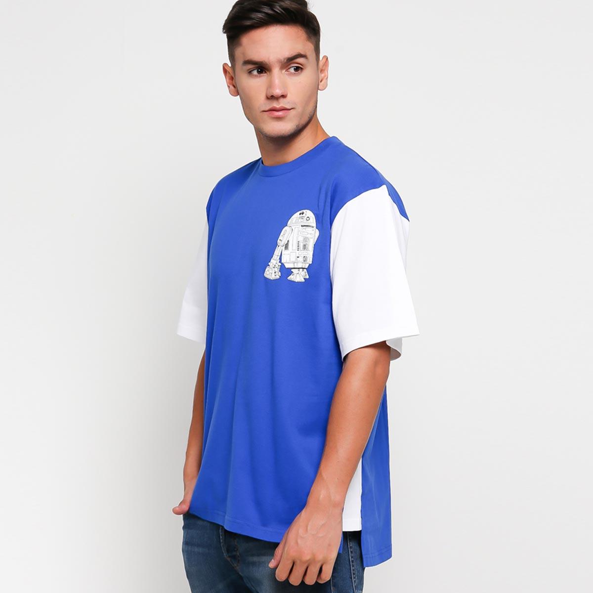 AMOTSYAMSURIMUDA Star Wars R2 D2 Printed Two Tone T shirt Blue