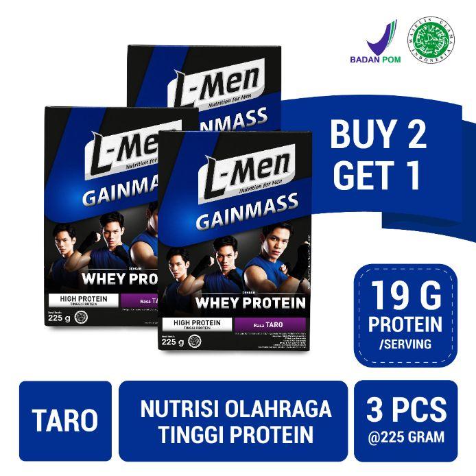 L-Men Gain Mass Taro 225g (3 pcs) - Suplemen Penambah Massa Otot Tinggi Whey Protein