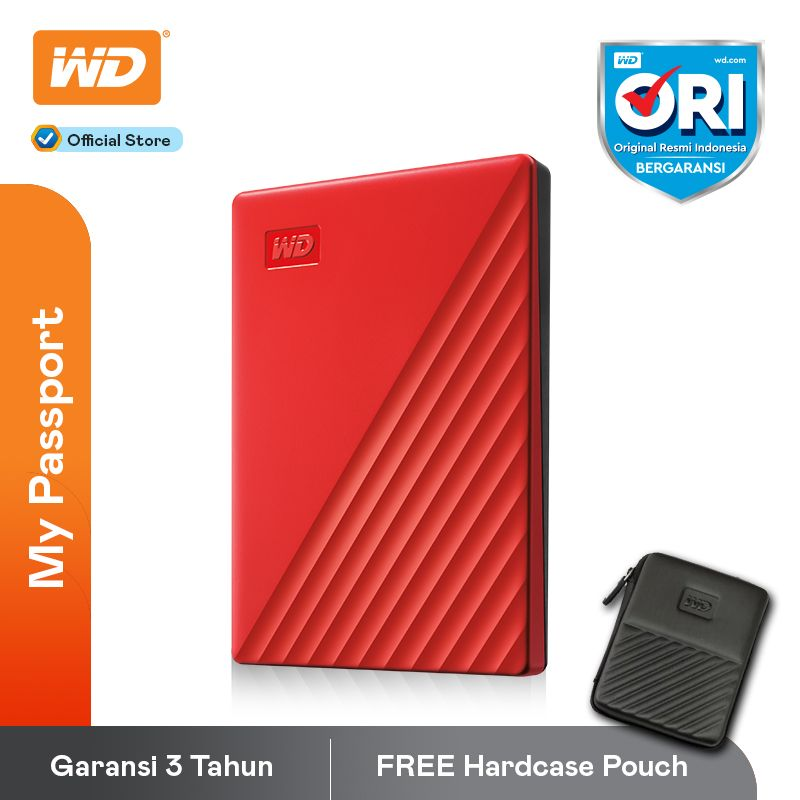 Western Digital New My Passport 2TB Harddisk Eksternal USB 3 2 Red Free Pouch
