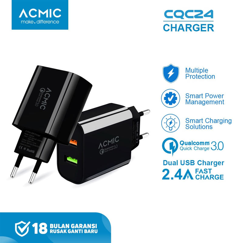 ACMIC CQC024 Dual Travel Charger