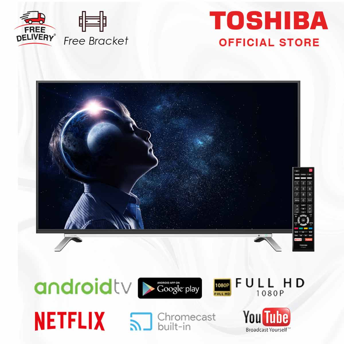 Toshiba 43L5995 2K LED Android Smart Digital TV 43 Inch UHD with Google You Free Bracket