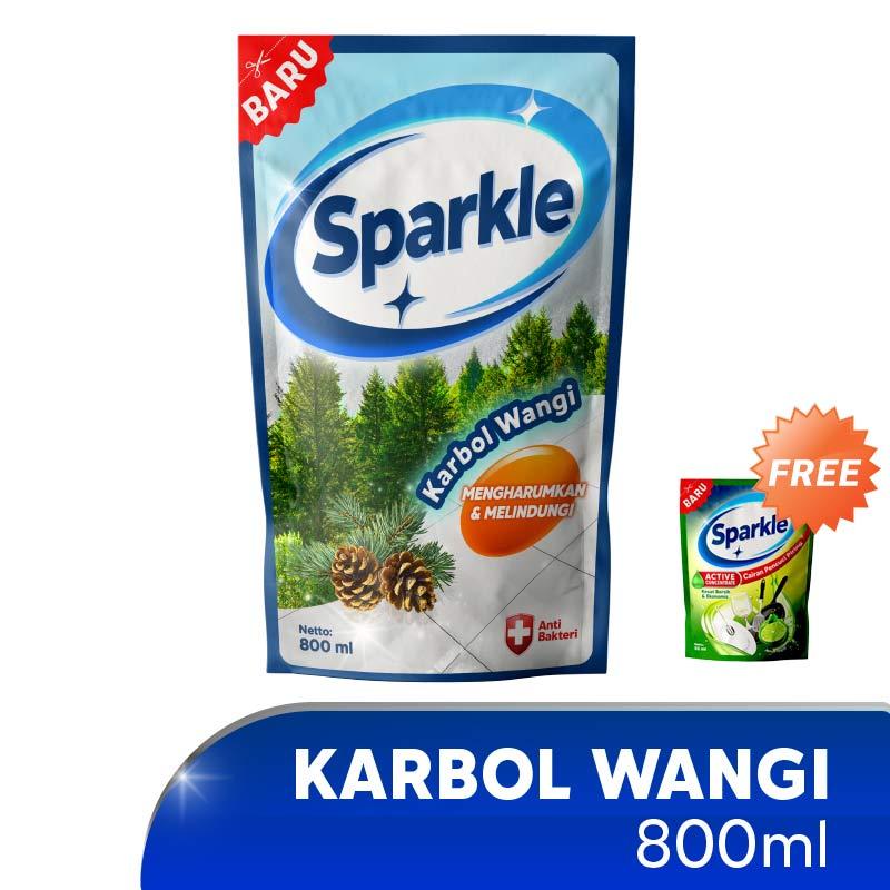 Sparkle Karbol Wangi Pine Cairan Pembersih Lantai 800 mL Refill Pouch Free Cairan Pencuci Piring 55 mL
