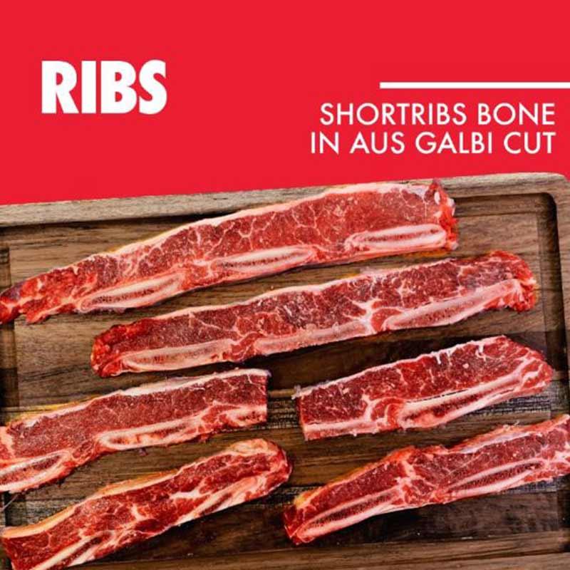 Daging Iga Sapi Impor AUS Beef Shortribs Bone In Kalbi Galbi 500gr