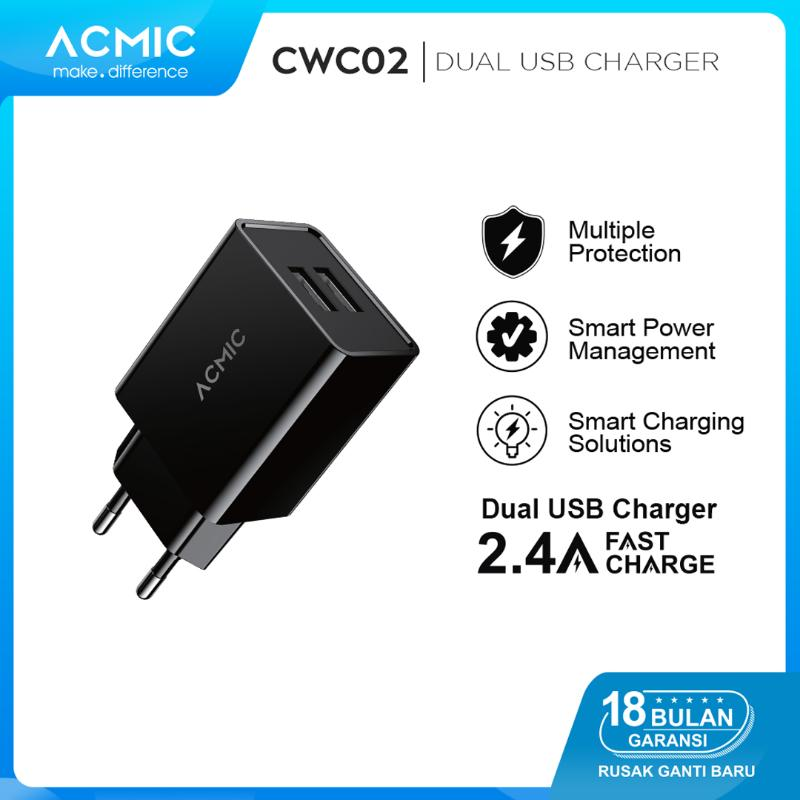 ACMIC CWC02 Dual USB Wall Charger Adaptor 2 4A Fast Charging
