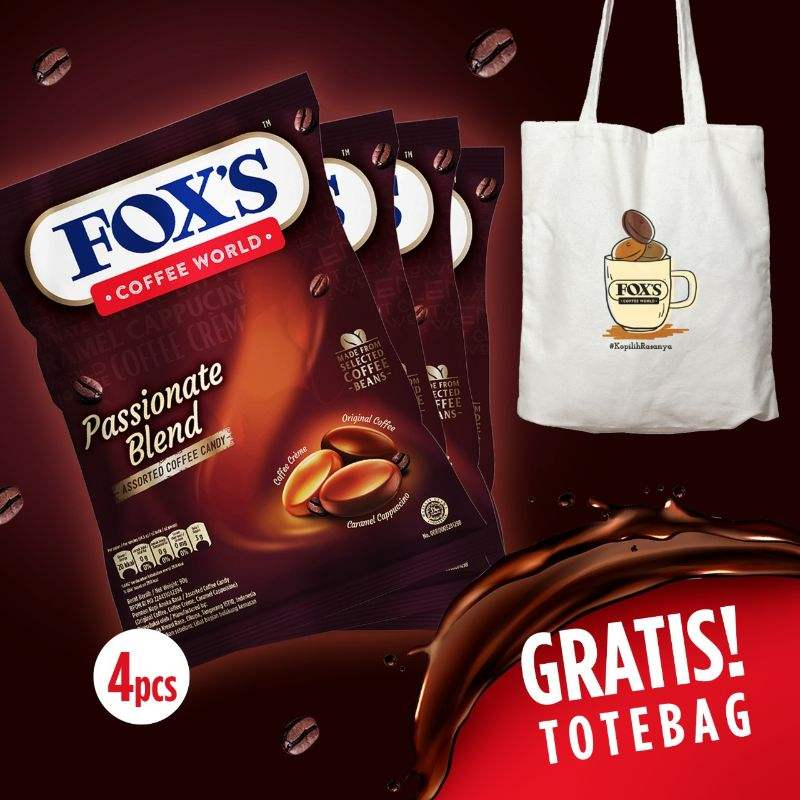 Beli 4 FOX S Coffee World Permen 90 g Free Tote Bag
