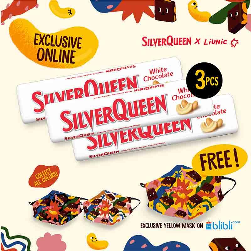 Beli 3 SilverQueen White 65 g Free Masker Silverqueen Design Random
