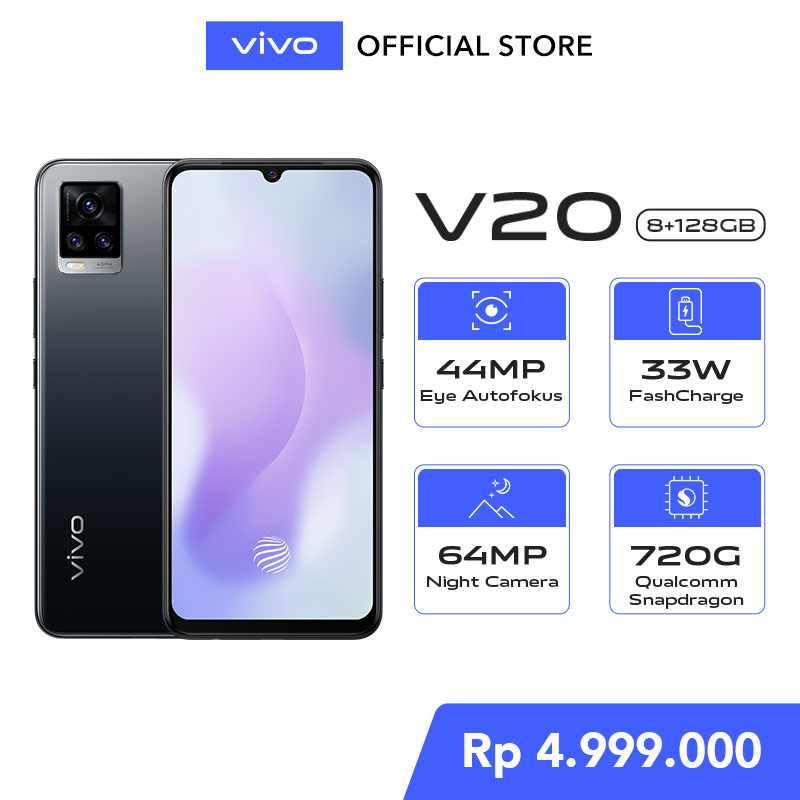 vivo V20 8GB 128GB 44MP Eye Autofocus Qualcomm Snapdragon 720G NFC Free Exclusive Gift Box Smartwatch Powerbank