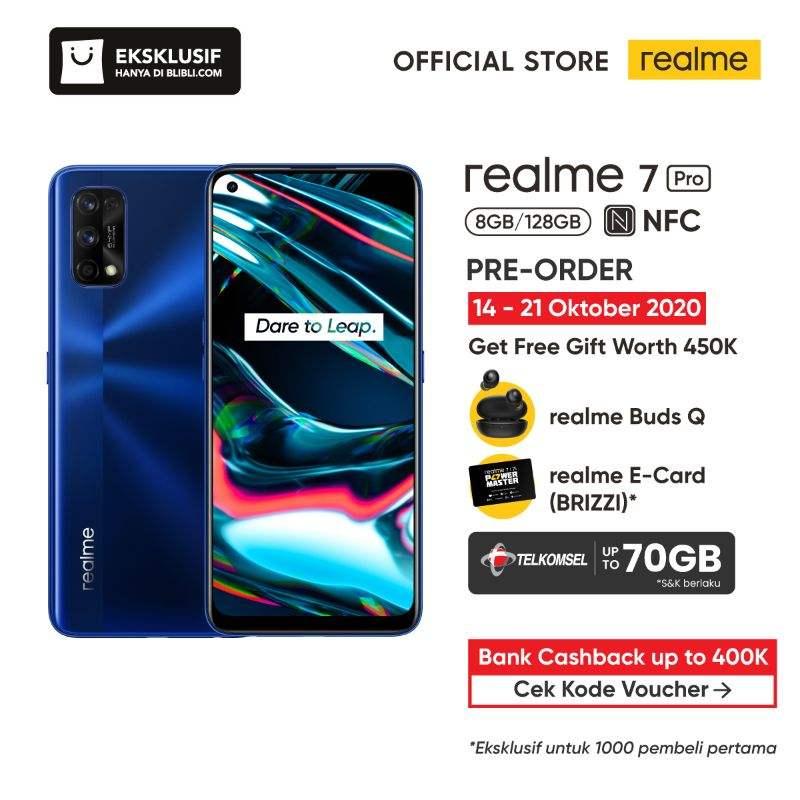 Pre Order realme 7 Pro Smartphone 8 GB 128 GB Official Store realme Buds Q realme E Card BRIZZI Telkomsel Starterpack