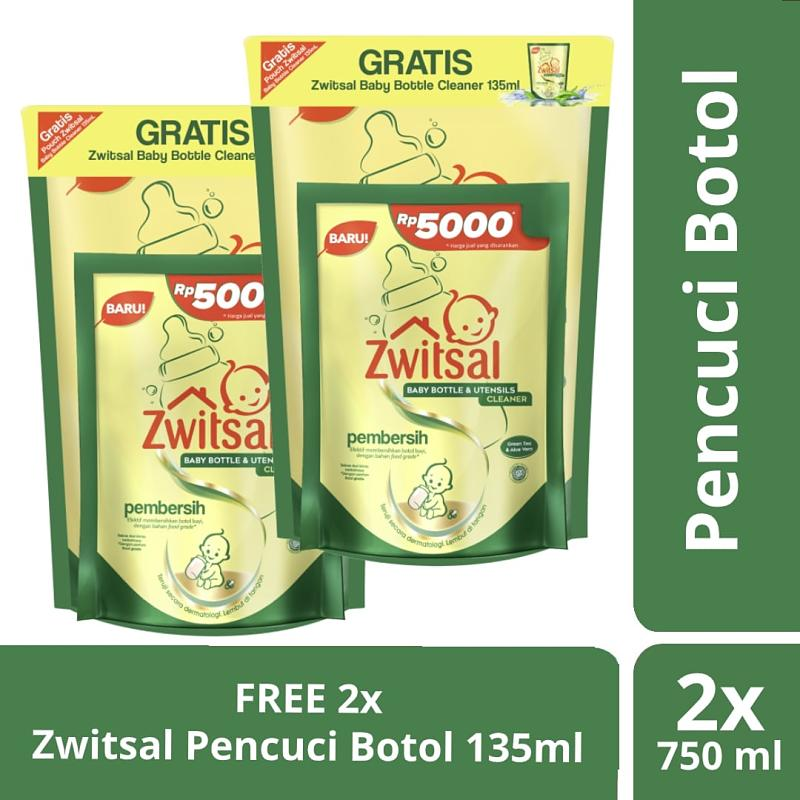 Zwitsal Baby Bottle Cleaner Pembersih Botol Bayi 750 mL 2pcs Free Bottle Cleaner 135m 2pc