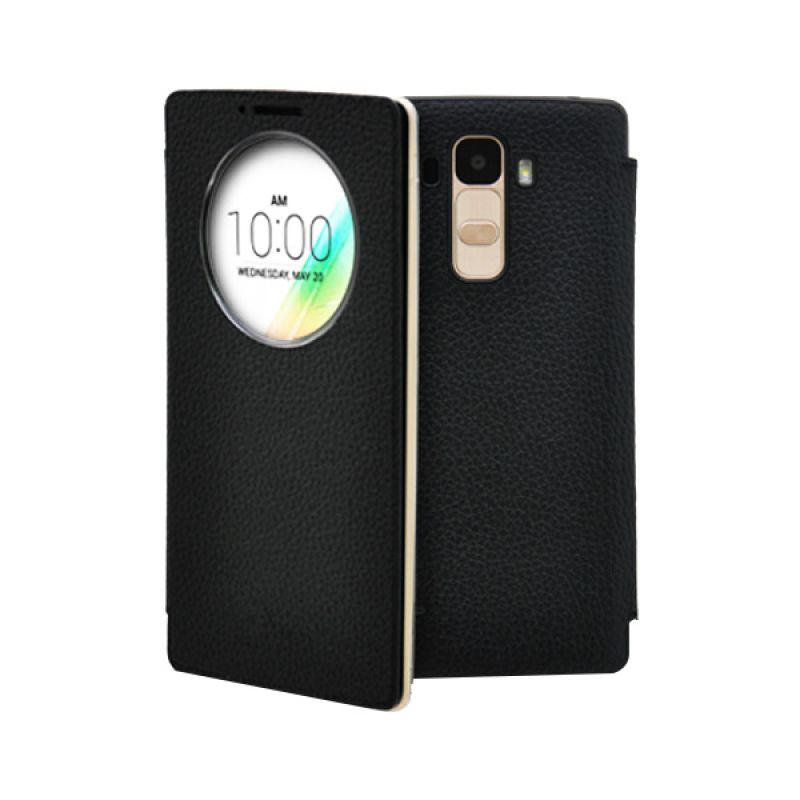 Voia Leather Quick Circle Cover Black Casing for LG G4 Stylus