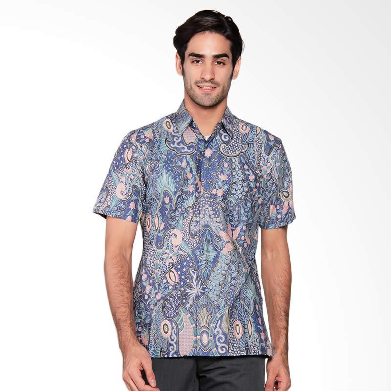 Batik Semar Men Hpdk CTN SILK enggal warni 40 13A018 Biru Kemeja Batik Pria