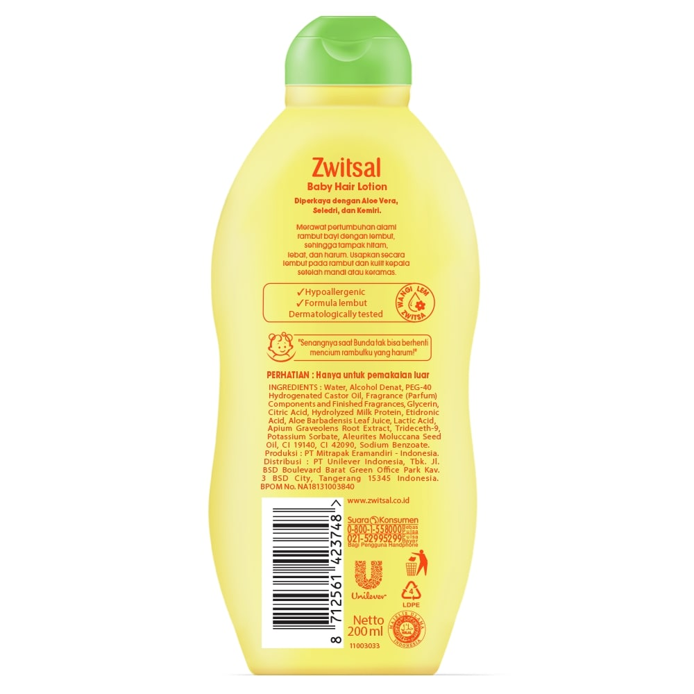 zwitsal natural baby hair lotion aloe vera kemiri seledri 200ml 21023180