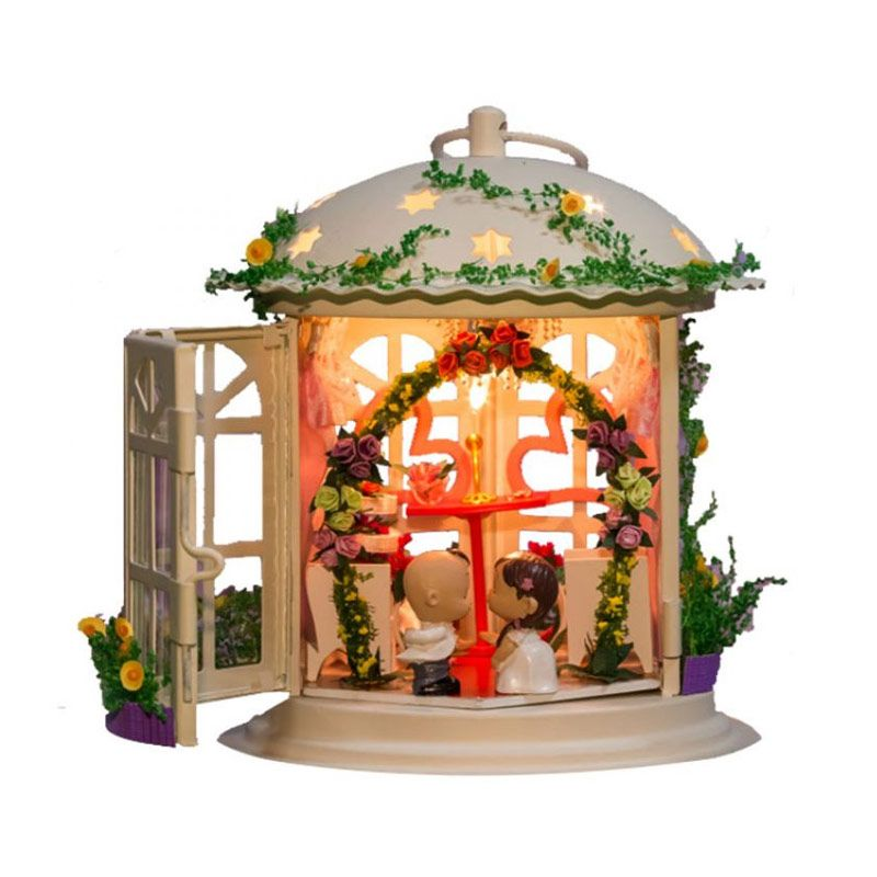 A1toys DIY Miniature House Sumpah Pernikahan Plus Lampu LED TPOL