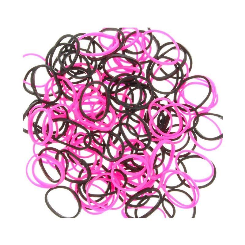 A1Toys Karet Rambut Korea Isi 300 Pcs Pink Hitam Karet Gelang Aksesoris