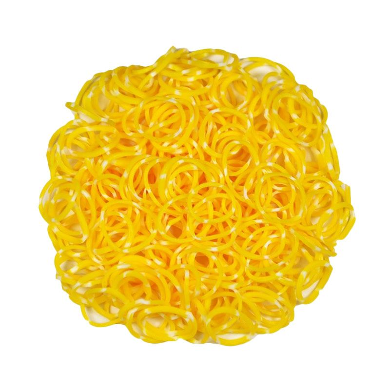 A1Toys Karet Rambut Korea Isi 300 Pcs Polkadot Kuning Karet Gelang Aksesoris